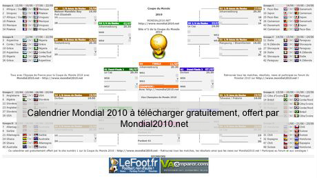 Calendrier Coupe.Calendrier De La Coupe Du Monde 2010 A Telecharger
